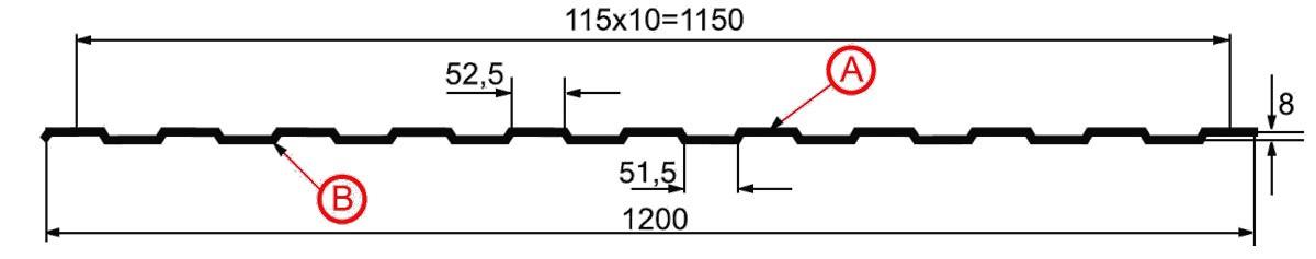 Профнастил С-8 схема