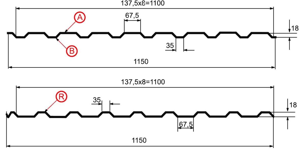 Профнастил МП-20 схема